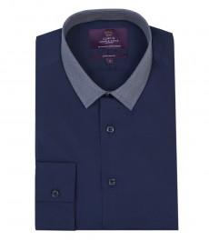 Мужская экстраприталенная рубашка, однотонная синяя, контрастный воротник - манжеты с пуговицами