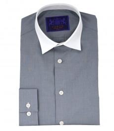 Мужская рубашка, экстра приталенная, цвет серый, ткань переплетение