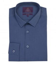 Мужская экстраприталенная рубашка, однотонная, темно-синяя, переплетение ткани