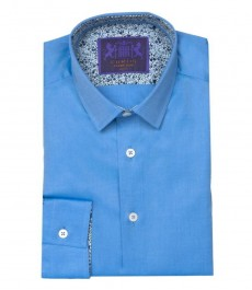 Мужская однотонная голубая, твил, экстраприталенная, контрастные детали - одинарные манжеты