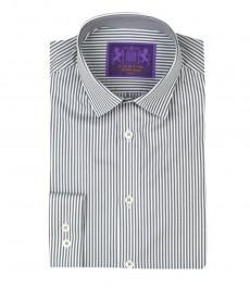 Мужская экстраприталенная рубашка, белая в серую полоску