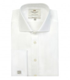 Мужская белая рубашка экстраприталенная, поплин-срезанный ворот