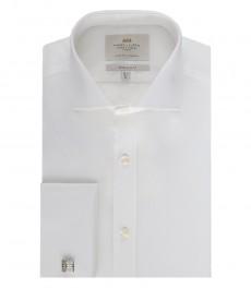 Мужская белая, экстра приталенная рубашка - манжеты под запонки
