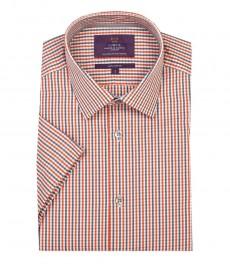 Мужская экстраприталенная рубашка, решётчатая клетка оранжево-серого цвета - короткий рукав