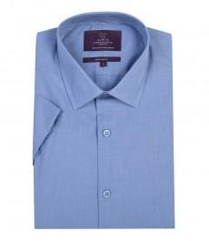 Мужская экстраприталенная хлопковая рубашка тёмно-голубого цвета, короткий рукав