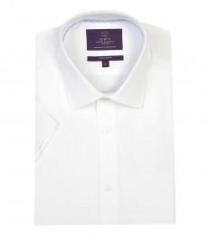 Мужская экстраприталенная гладкотканная белая рубашка с коротким рукавом