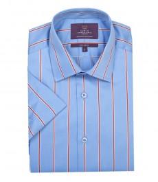 Мужская экстраприталенная рубашка в голубую и красную широкую полоску - короткий рукав