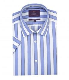 Мужская экстра приталенная хлопковая рубашка лилово-белого цвета в широкую полоску с коротким рукавом