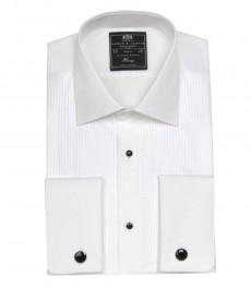 Мужская приталенная вечерняя рубашка, плиссировка
