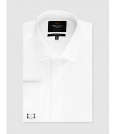 Мужская белая приталенная вечерняя рубашка - под запонку - легко гладится