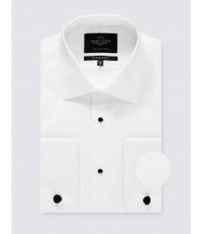 Мужская приталенная вечерняя рубашка - воротник Виндзор - рукав под запонку - Легко гладится
