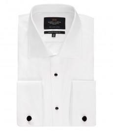 Мужская рубашка, классического кроя, белая, вафельное переплетение, вечерняя - манжеты под запонки - легко гладится