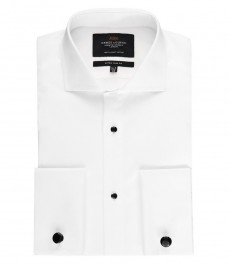 Men's White Extra Slim Fit Evening Shirt - Windsor Collar- Double Cuff - Easy Iron