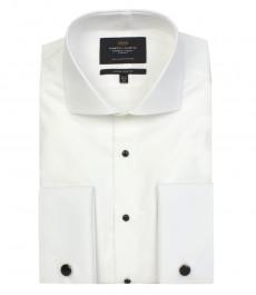 Мужская белая экстраприталенная рубашка к вечернему костюму