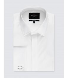 Мужская белая экстраприталенная вечерняя рубашка - под запонку - легко гладится