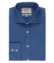 Мужская экстраприталенная рубашка светло-синего цвета - срезанный стильный воротник