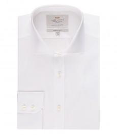 Мужская экстраприталенная белая рубашка - срезанный воротник