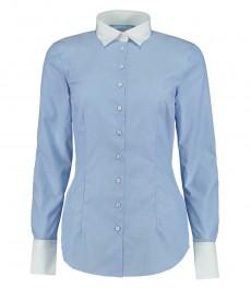 Женская приталенная рубашка, голубая - 100% хлопок