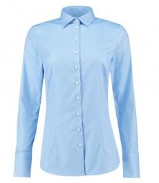 Женская приталенная рубашка, модель EXECUTIVE, голубая, твил - манжеты на пуговицах - двухслойный 100% хлопок
