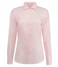 Женская приталенная рубашка светло-розового цвета, ткань твил, коллекция