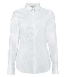 Женская однотонная приталенная рубашка белого цвета, коллекция Executive, одинарная манжета - 2-х слойный хлопок 100s