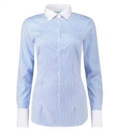 Женская приталенная рубашка, голубая в белую полоску - двухслойный высококачественный хлопок