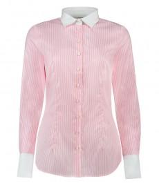 Женская светло-розовая рубашка, в белую полоску, приталенная, манжеты на пуговицах - 100% хлопок