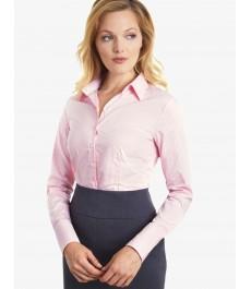 Женская приталенная рубашка коллекция Executive, светло-розовая в белую бенгальскую полоску - манжеты на пуговицах