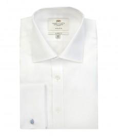 Мужская классическая белая рубашка - под запонку - 2-х слойный хлопок из нити толщиной 140s