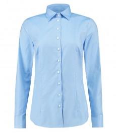 Женская приталенная рубашка, голубая твил - манжеты под запонку
