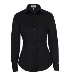 Женская однотонная приталенная стрейчевая рубашка чёрного цвета, двойная манжета