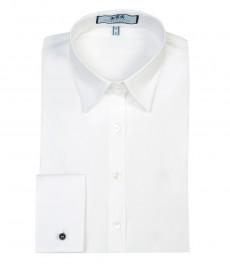 Женская приталенная рубашка, стрейч, белая