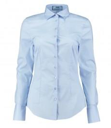 Женская приталенная светло-голубая стрейч-рубашка - двойная манжета под запонку