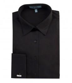 Женская однотонная приталенная рубашка чёрного цвета, двойная манжета