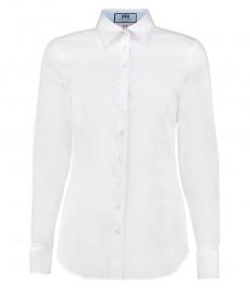 Женская белая приталенная рубашка, стрейч с контрастными деталями - двойная манжета