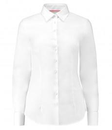 Женская белая приталенная рубашка с контрастными деталями - манжеты под запонки