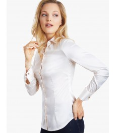 Женская сатиновая блузка, кремовая - манжеты под запонки