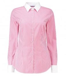 Женская приталенная рубашка, розовая в белую полоску - манжеты под запонку