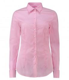 Женская приталенная рубашка, светло-розовая в белую полоску - манжеты под запонку