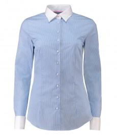Женская приталенная рубашка, светло-голубая в белую полоску - манжеты под запонки