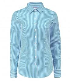 Женская приталенная рубашка, голубая в белую полоску - манжеты под запонку