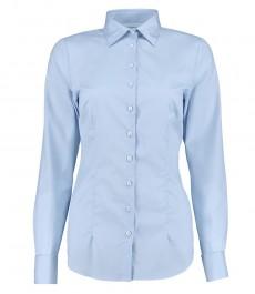 Женская светло-голубая рубашка, ткань поплин, приталенная, манжета на запонках - 100% хлопок
