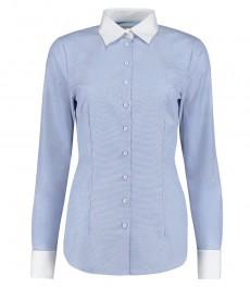 Женская приталенная рубашка, Executive collection, светло-голубая ткань c переплетениеv end-on-end, под запонку - 2-х слойный хлопок 100s