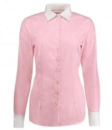 Женская приталенная рубашка, Executive collection, светло-розовая ткань с переплетением end-on-end, под запонку - 2-х слойный хлопок 100s