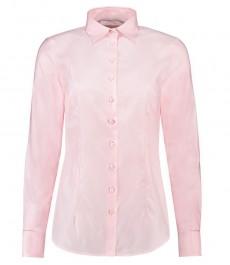 Женская однотонная приталенная рубашка, светло-розовая, ткань твил, коллекция