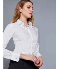 Женская приталенная рубашка, белая твил, премиум коллекция Executive - Манжеты под запонки