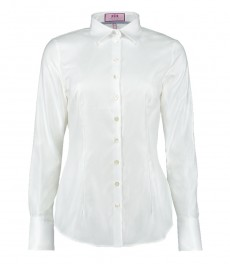 Женская приталенная рубашка, ткань твил, одинарные манжеты - двухслойный хлопок