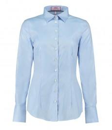 Женская приталенная рубашка, твил, голубая - одинарные манжеты - двухслойный хлопок