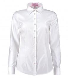 Женская приталенная рубашка, белая, ткань твил, манжеты под запонку - хлопок