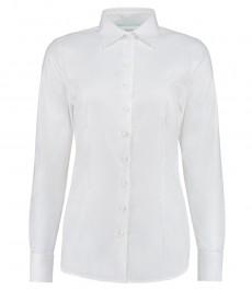 Женская однотонная приталенная рубашка белого цвета, коллекция Executive, под запонку - 2-х слойный хлопок 100s